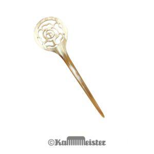 Haarnadel Haarstab 1-zinkig - hell meliertes Horn - Dekor Rose