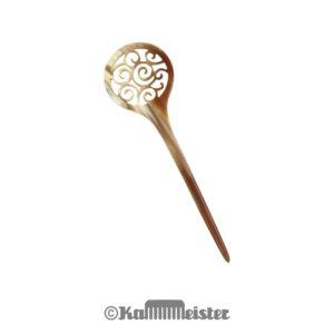 Haarnadel Haarstab 1-zinkig - hell meliertes Horn - Dekor Spiralen